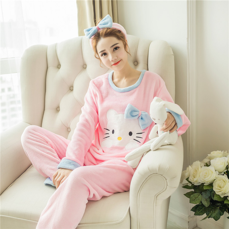 Send Hair Band Pajamas Female Winter Thick Coral Velvet Cute Cartoon KT Cat Sweet Princess Flannel Homewear Set
