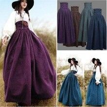2019 nova mulher medieval elegante saia sólida altura da cintura idade média trajes renascentistas balanço do vintage saias plissadas