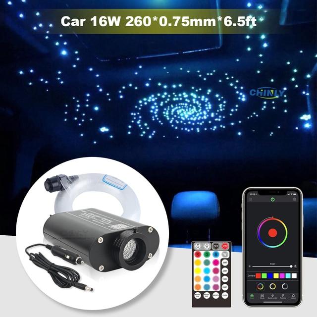 Sound Active Car Fiber Optic Lights Bluetooth APP Control 12V  Star Ceiling Light with 260PCS 0.75mm 2m Fiber Optical Cable