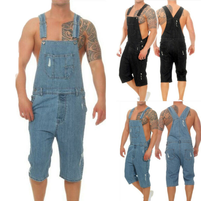 Bib Pants Cropped Trousers Black Blue  Overalls