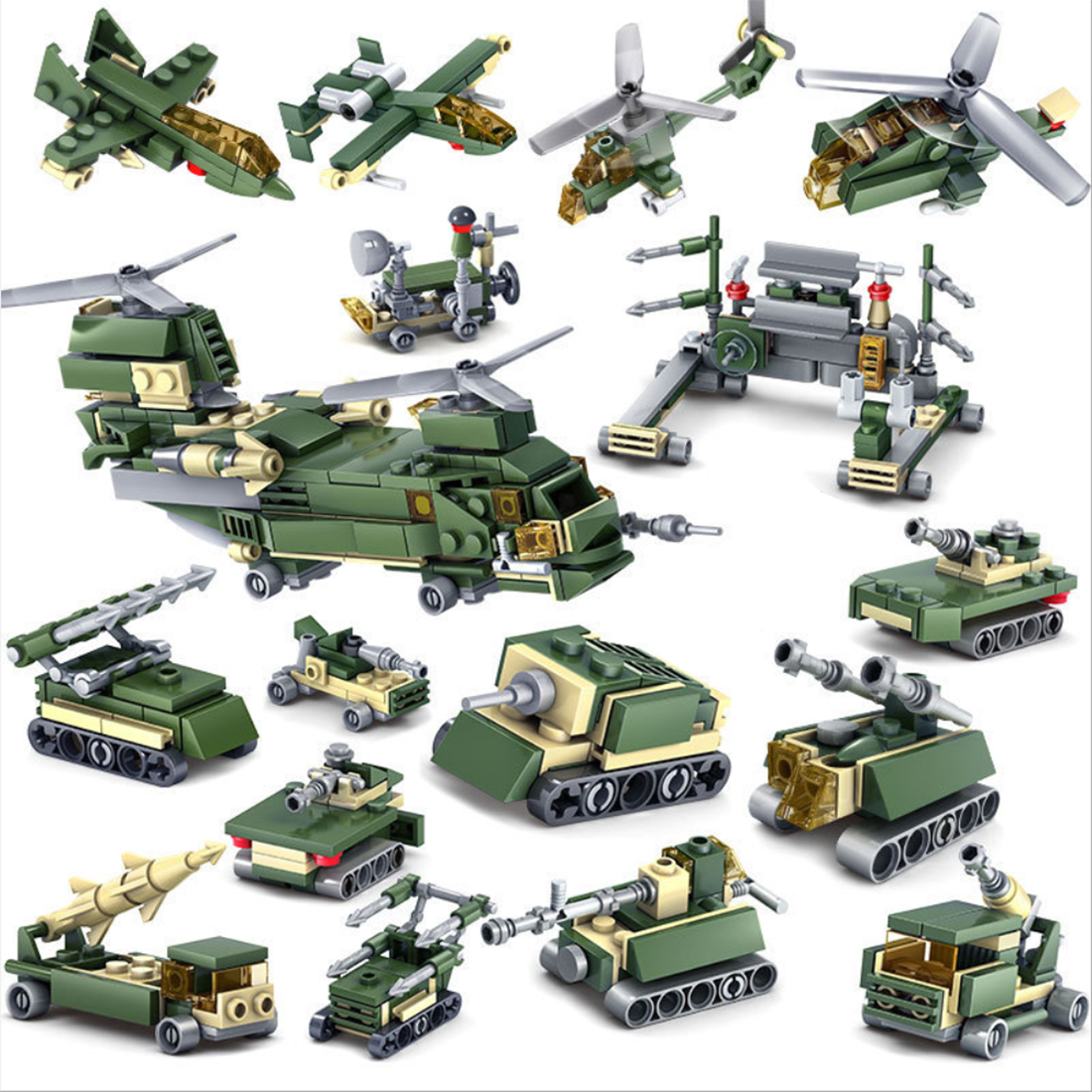 448Pcs 16-in-1 Military Field Troop STEM Bricks Small Particle Building Blocks Educational Toy Set image