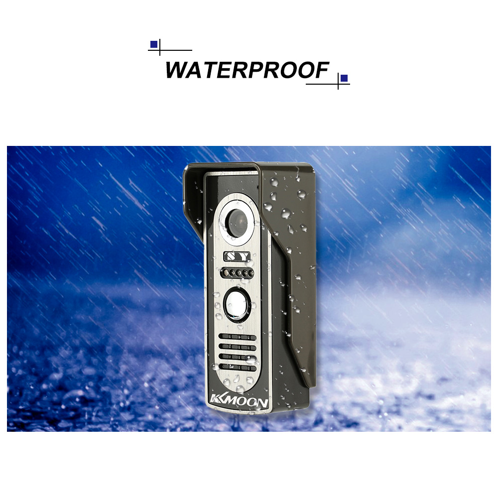 KKmoon 7'' TFT Waterproof Wired Door Intercom System With Camera and Speaker 1