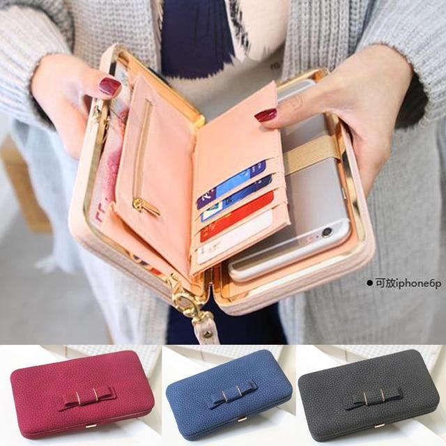 New Fashion Women Cute Bowknot Wallet Long Purse Phone Card Holder Clutch Large Capacity Bag