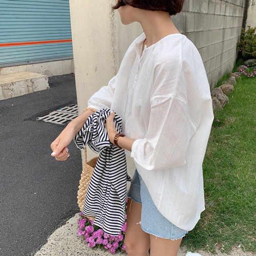 Свободная нестандартная рубашка женская винтажная хлопковая блузка с длинными рукавами для девочек, большие размеры, осенние женские блузки