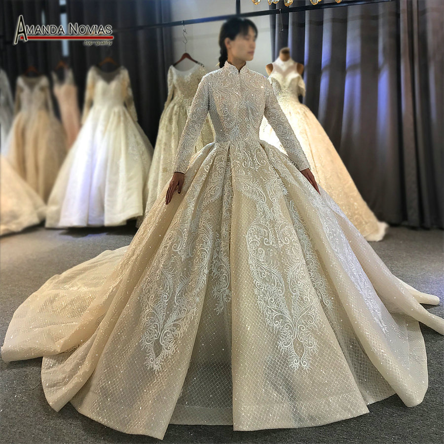 2020 Champagne color muslim wedding dress cover full lace beading bridal dress for MuslimWedding Dresses   -