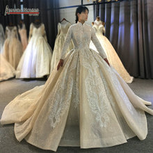 2020 Champagne color muslim wedding dress cover full lace beading bridal dress for Muslim