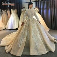 Robe de mariée musulmane, couleur Champagne, couverture complète en dentelle, perles, robe de mariée, modèle 2020