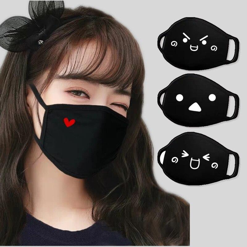 Lovely Black Expression Mask Dustproof Safety Cotton Masks Sports Running Cartoon Party Mask Fashion Unisex Keep Respirator