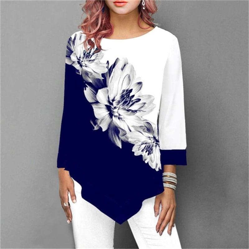 New 2020 Shirt Women Spring Summer Floral Printing Blouse 3/4 Sleeve Casual Hem Irregularity Female Fashion Shirt Tops Plus Size