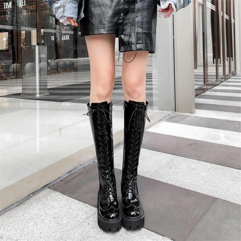 MStacchi Mode Knie Bottes Femme Sexy Vrouw Schoenen Dames Dikke Hak Lakleer Laarzen Vrouwen Platform Keep Warm Rits Laarzen