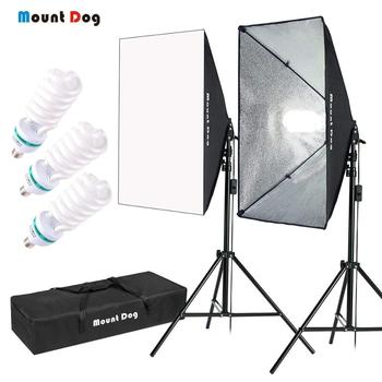 "1350W Photography Continuous Softbox Lighting Kit by MOUNTDOG 20""X28"" Professional Photo Studio Equipment with 3pcs gopro Socket"