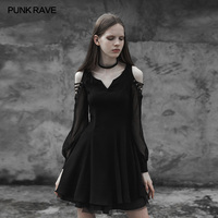 PUNKRAVE Women's Gothic Strapless Corn Bandage V collar Dress Victorian Style Party Evening Longt Sleeve Dresses