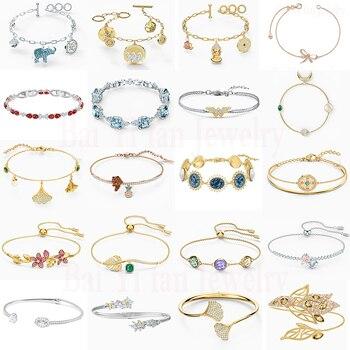2020 Fashion SWA New TROPICAL FLOWER .GRACEFUL BLOOM CUFF. SYMBOLIC ELEPHANT BRACELET Women Elegant Romantic Jewelry Gift