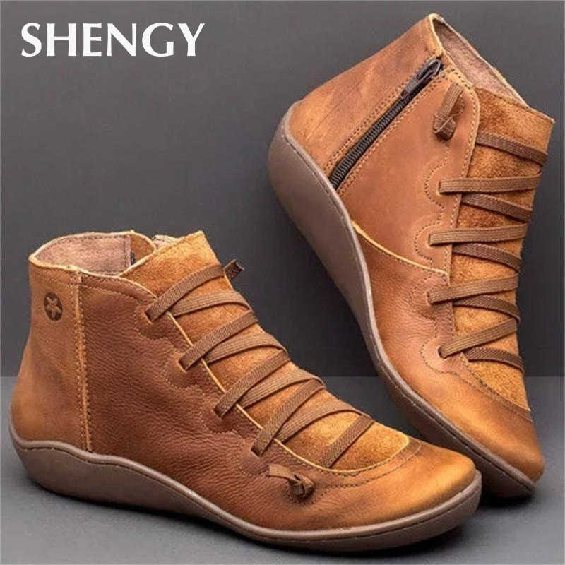 New Leather Ankle Boots Autumn Vintage