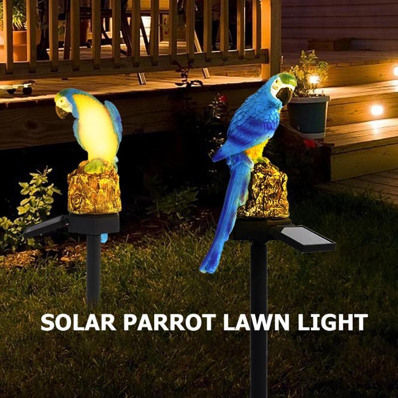 LED Parrot Solar Lawn Light Solar Power Outdoor Waterproof Garden Landscape Lamp Garden Yard Decoration Animal Shape Lamp