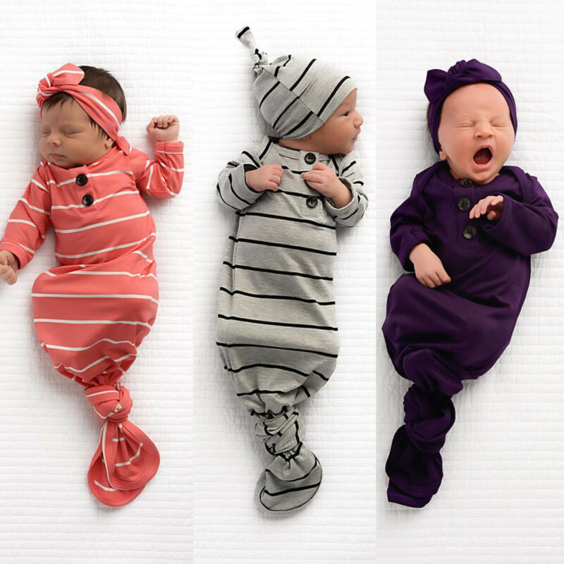 Newborn Cotton Striped Towel Tire Cap 2 Sets Baby Girl Swaddle Set Sleeping Sack Bag Gown Newborn Toddler Boy Unisex 0-6 M
