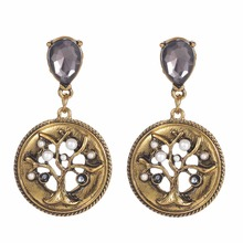 Simulated Pearl Beads Tree of Life Earring Vintage Antique Brass Round Drop Water Crystal Long For Women