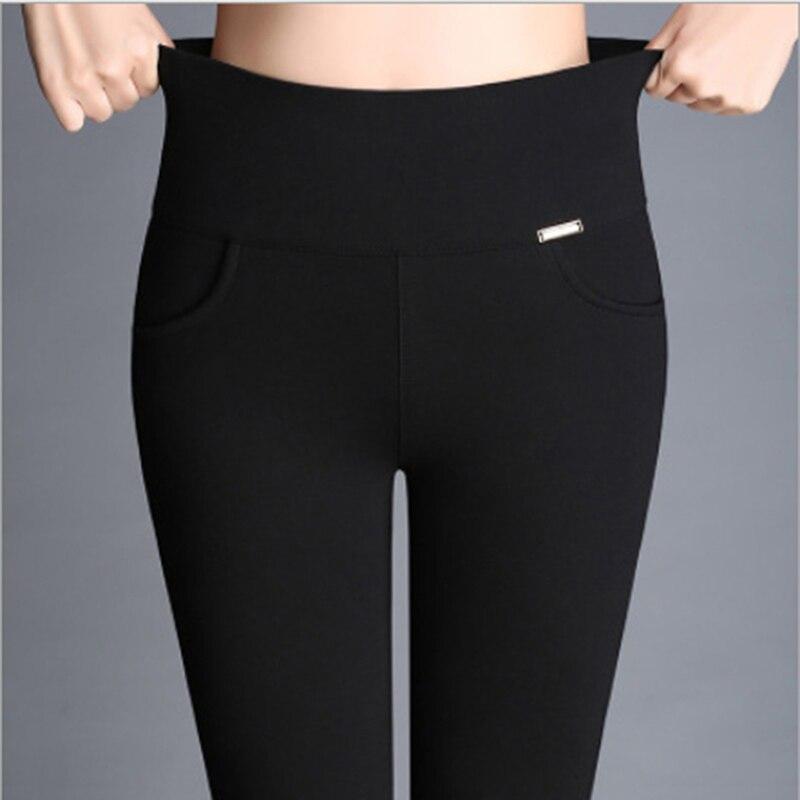 Women Pants Fashion Solid High Waist Long Trousers Pencil Trousers Fall Pocket Pants Women Slim Ladies Pants Plus Size S-4XL