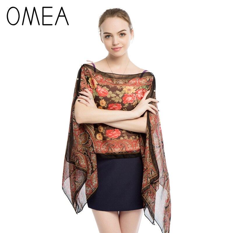US $5.02 44% OFF|OMEA UV proof Poncho Women Shawl Floral Print Chiffon Poncho and Capes Women Summer Silk Scarf Bandana Retro Fashion Women