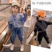 2020 Spring Autumn Children Baby Girls Clothes Sets Fashion Denim Jacket +Pants Sets For Girls Kids Clothes Jacket Girls Sets