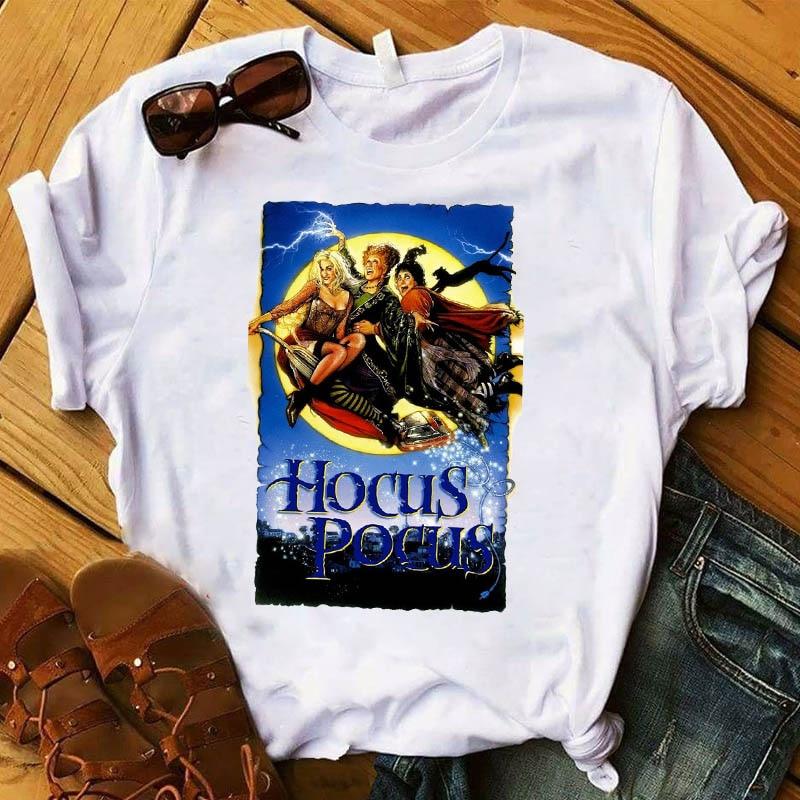 Women T Hocus Pocus Printed Halloween Short Sleeve Womens Top Tshirt Female Kawaii Graphic Tee Shirt Ladies Clothes T-shirt