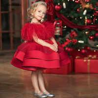 Vestido de princesa pequeña, vestido de plumas para bebé, vestido de 1 año de cumpleaños, vestido de fiesta de Navidad, ropa para niños