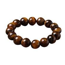 Contas redondas pulseira de estiramento para contas budistas unisex pulseira feita de olho de tigre pedra fs99