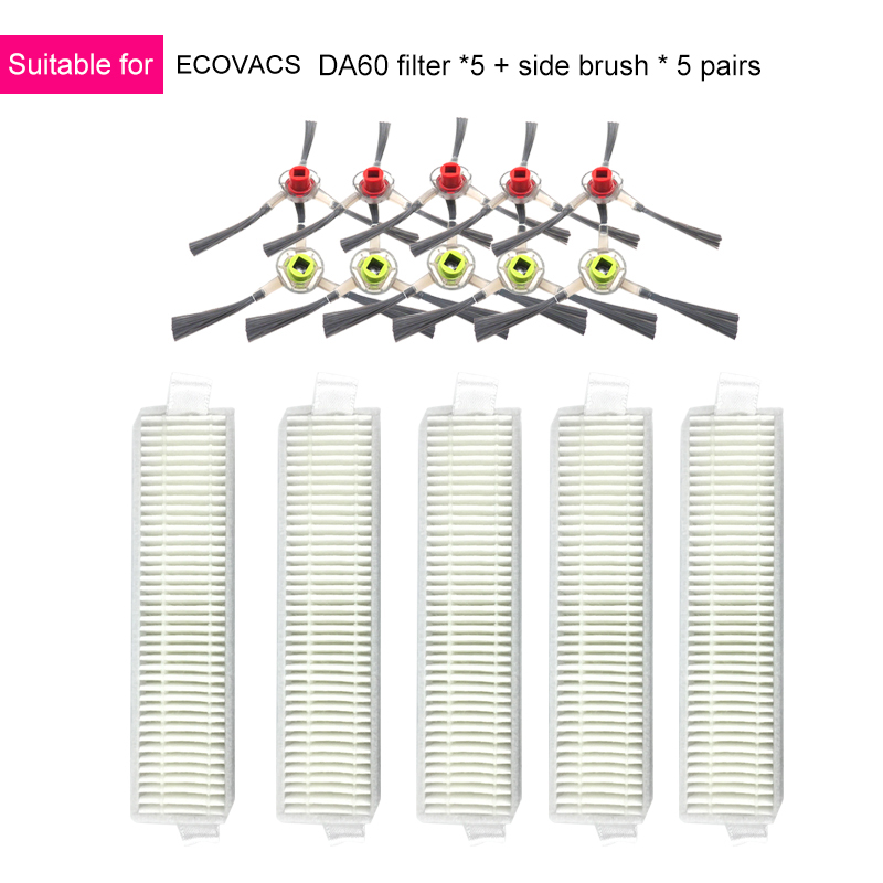 Filter Brushes Accessory Kit Compatible for Ecovacs Deebot Slim Da60 Robot Vacuum Cleaner