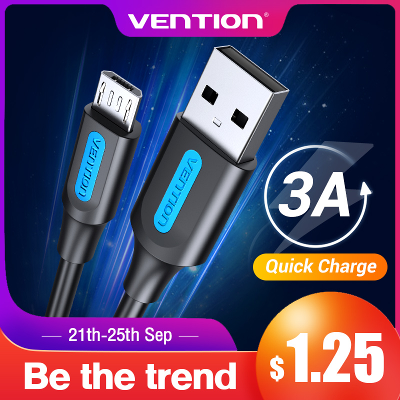 Vention Micro USB Cable 3A Fast Charging USB Data Cable for Samsung Galaxy Xiaomi Android Tablet Mobile Phone USB Charger Wire(China)