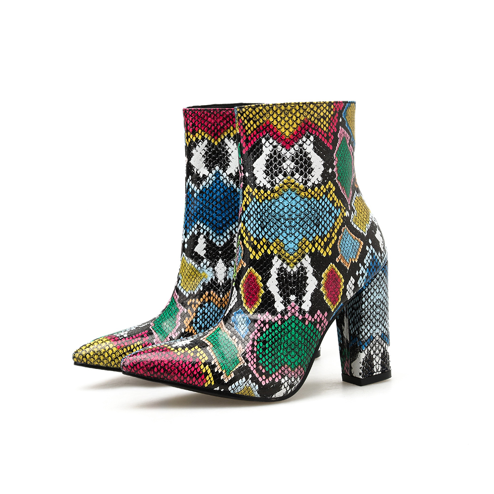 Купить с кэшбэком Women's Ankle Zipper Boots NIUFUNI Pointed Toe Snake Pattern Boots Women's High Heels Casual Woman Shoes Bottes Femme Size 35-40