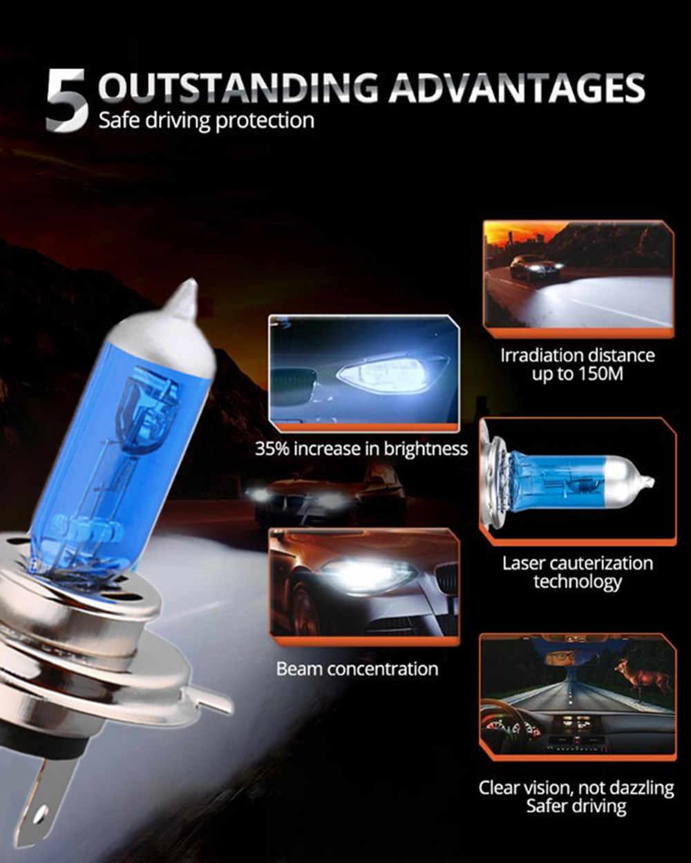 1 Pcs Super Putih Halogen Bulb H4 H7 12V 55 W/60 W 3000K 4300K 6000K Kuarsa Kaca Mobil Headlight Lampu Sepeda Motor Lampu Lampu