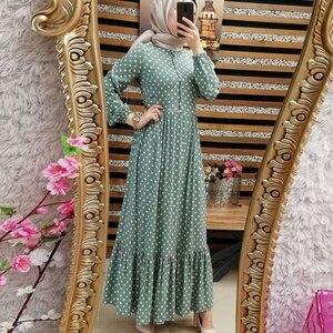 Image 5 - Imprimer Dot grande taille Maxi robes femmes dubaï arabe musulman volants pli longue robe Islam Abaya Ramadan islamique vêtements S 5XL