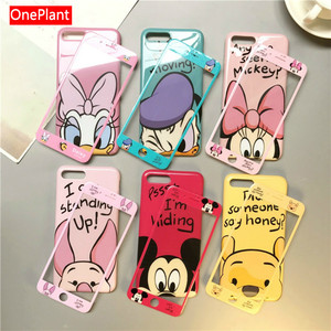 Cute Phone Case+screen Protector For iPhone 11 Pro Max Xs Max Xr X 8 7 6 6s Plus Full Tempered Glass Film Soft Tpu Cartoon Cover(China)