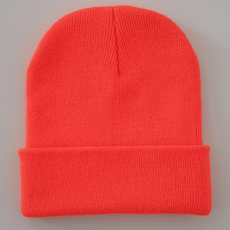 Bright Solid Acrylic Knitted Hats Women Men's Winter Plain Beanies Cap Orange Brown Black Neon Yellow Neon Green