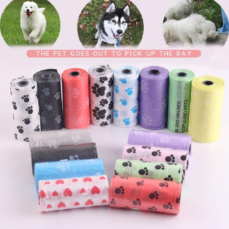 Dog Poop Bag Pet Supply 5Rolls /2Rolls Printing Cat Dog Poop Bag Outdoor Home Clean Refill Garbage Bag