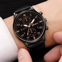 цены GENEVA Luxury Men Watches Stainless Steel Black Quartz Wrist Watch Men Chronograph Military Watch reloj hombre erkek kol saati