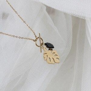 Amaiyllis 18K золото барокко пальмовый лист пирсинг ключицы ожерелье черный кристалл ожерелье с подвесками на цепочке для женщин летние ювелирны...