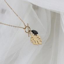 Amaiyllis 18K Gold Baroque Palm Leaf Pierced Clavicle Necklace Black Crystal Chain Necklace Pendants
