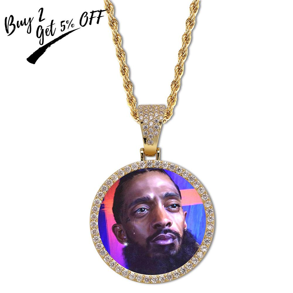 Custom Photo Memory Medallions Solid Pendant Necklace With Tennis Chain Hip Hop Jewelry Personalized Cubic Zircon Chains Gift 2