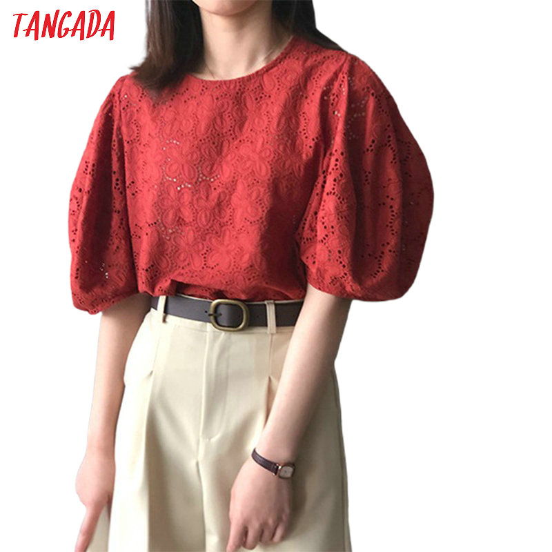 Tangada Women Embroidery Red Cotton Shirts Puff Short Sleeve Solid O-neck Elegant Ladies White Tops High Quality ASF52