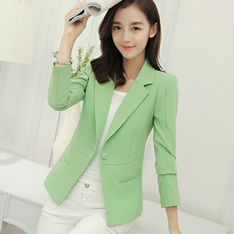 Casual Long Sleeve Solid Color Turn-down Collar Coat Lady Business Jacket Suit Coat Slim Top Women Blazers Female 2019