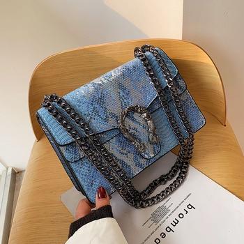 New Female Woman Crossbody Bags PU Leather Flap Shoulder  Alligator Snake Pattern Fashion Design Womens Messenger Bag