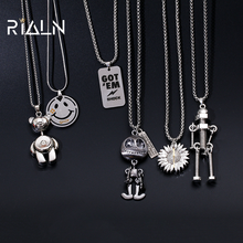 RIALN 2021 Trendy Hip Hop Necklace Men and Women Long Necklace Sweater Chain Cool Pendant Punk Jewelry