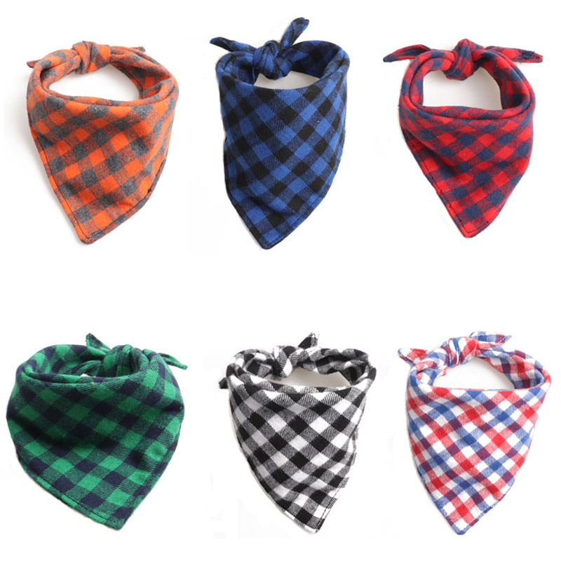 Amin Lattice New Products Bandage Cloth Bibs Pet Triangular Scarf British Style Double Layer Cotton Cloth Dog Scarf Manufacturer