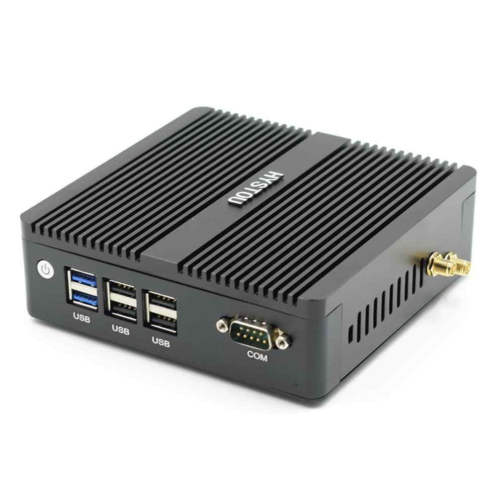 HYSTOU serwer zapory sieciowej AES-NI WIFI z procesorem N3160 J1900 czterordzeniowy system Windows 7 10 Linux Dual Nics Pfsense Router bez wentylatora Mini PC