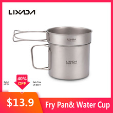 Outdoor Camping Titanium-Cup Cookware-Set Mug Folding-Handles Water-Cup Lixada Pot Fry-Pan