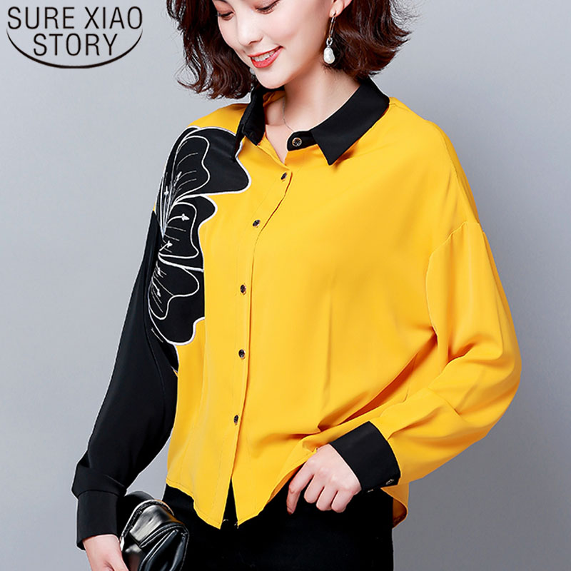 Blusas Mujer De Moda 2019 Long Sleeve Embroidery Women Shirts Floral Casual Turn-down Collar Women Blouses Plus Size 6010 50