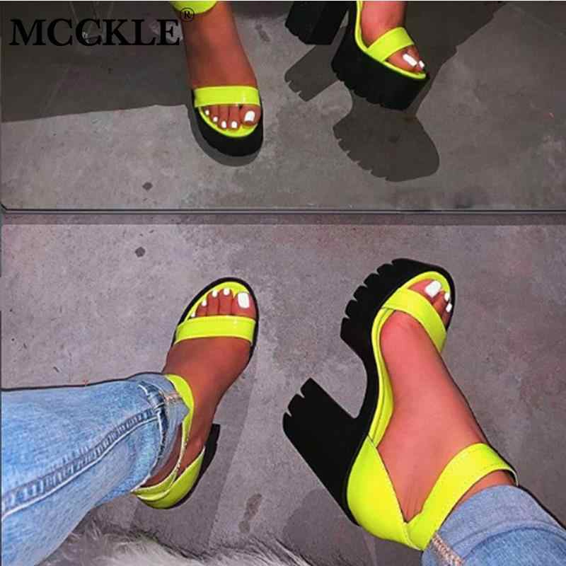 MCCKLE New Women Platform Summer Sandals Buckle Woman Candy Colors Thick High Heels Ladies Ankle Strap Shoes Female Sandalias