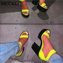 MCCKLE New Women Platform Summer Sandals Buckle Woman Candy Colors Thick High He