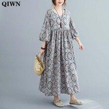 Women Dress Plus Size V Neck Cotton Linen Maxi Dres